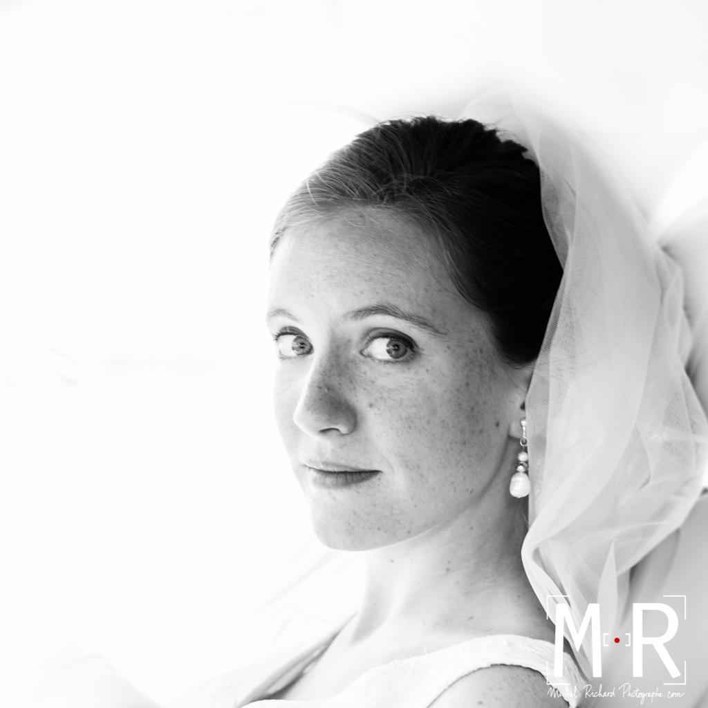 Mariage-visage de la mariée en noir et blanc-couple-Michel-Richard
