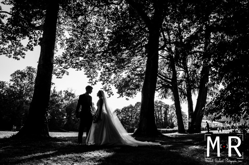 portrait des mariés - contrejour avec arbres et feuillages - noir et blanc