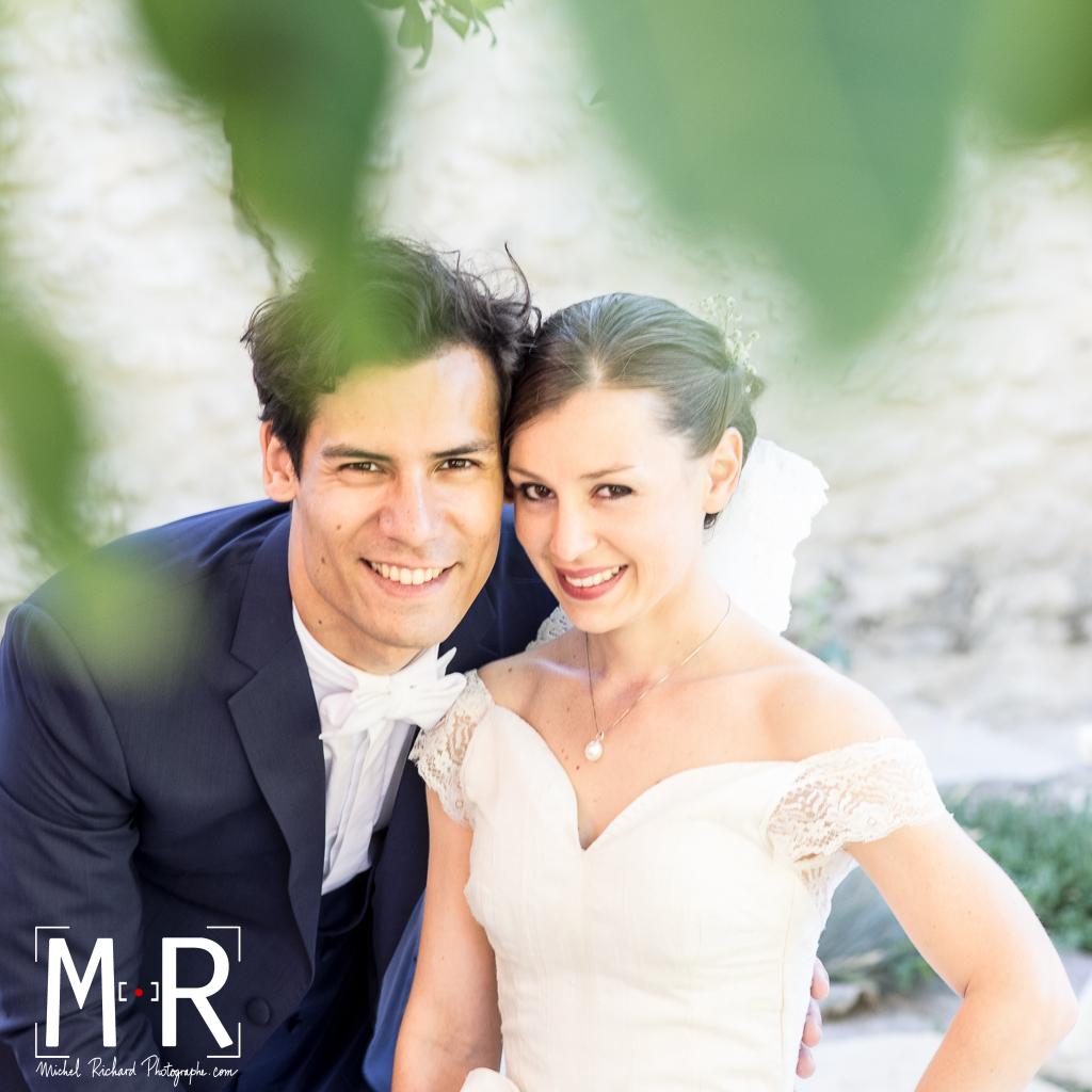 portrait des mariés - feuillage